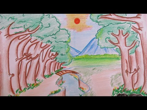 How to draw beautiful forest landscape and mountain view | Scenery Drawing Channel #6