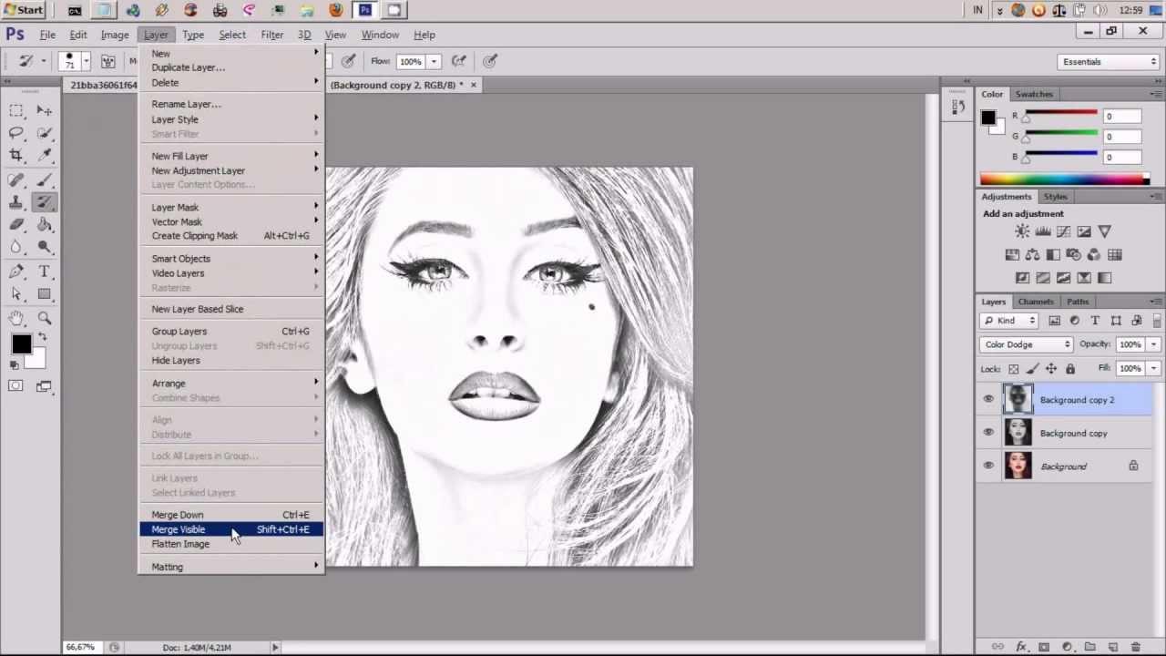 Cara Membuat Foto Menjadi Sketsa Dengan Photoshop Youtube