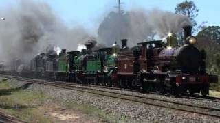 Steam quintuple header. 1709+1210+2705+3112+3526 to MossVale