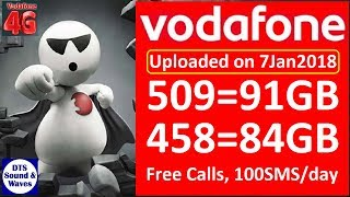 Vodafone 458, 509 Plan Details || Free calls, 84/91GB Data || DTS ||