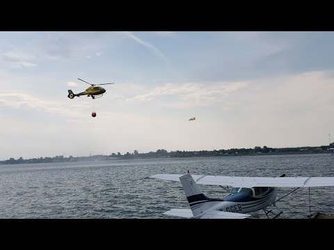 VIDEO: Waterbomber and copter show us how it's done