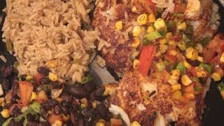 36. Tex-mex Fish With Roasted Corn Salsa, Black Beans, Corn Bread And Southwest Rice