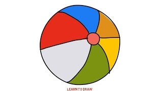 Easy Step For Kids How To Draw Beach Ball Rainbow Color