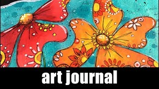 Art journal   paper piecing and acrylic markers