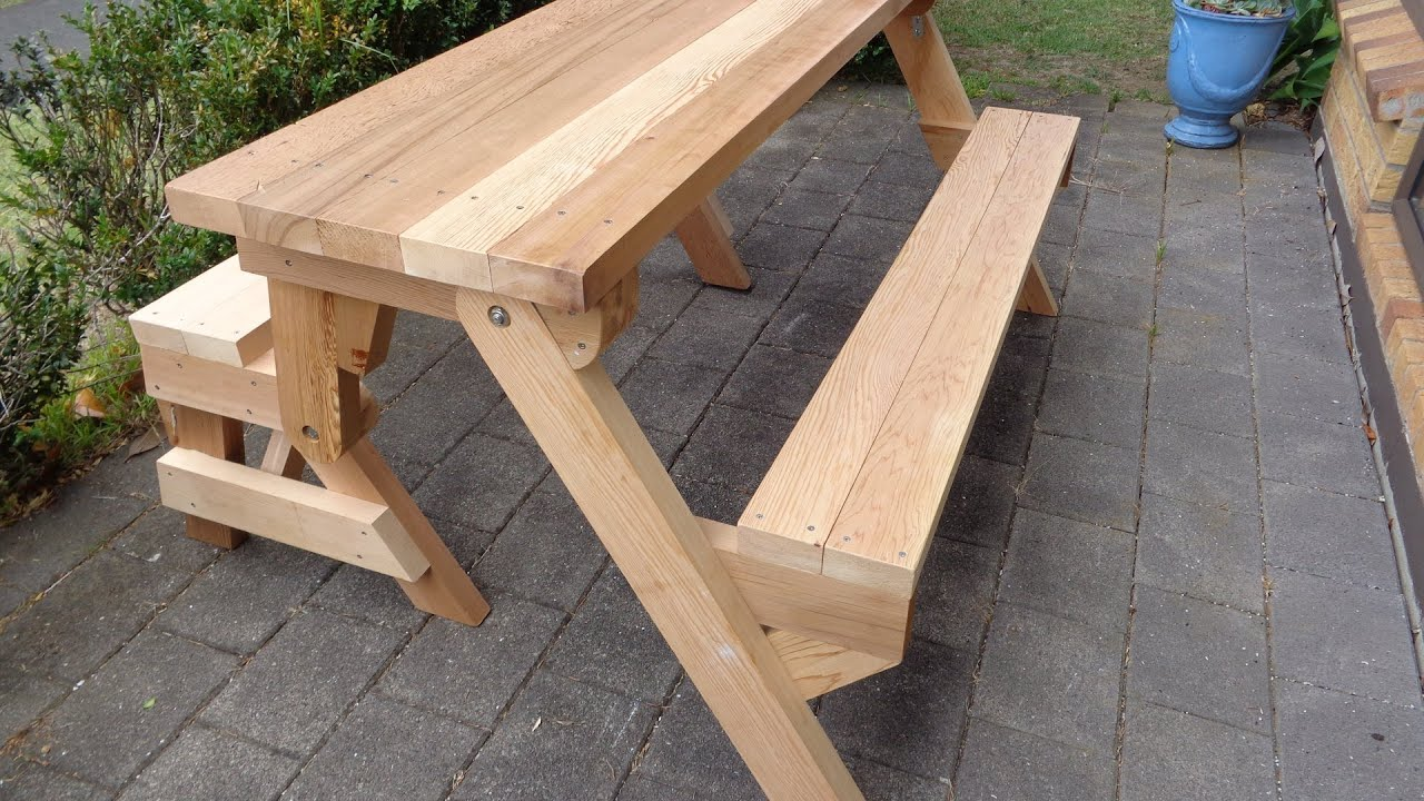 Folding picnic table made out of 2x4s - YouTube