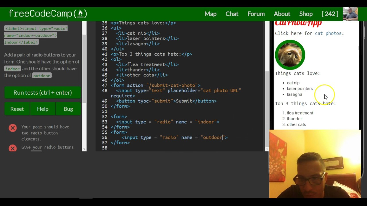 Create a set of radio buttons freecodecamp review html css lesson 32