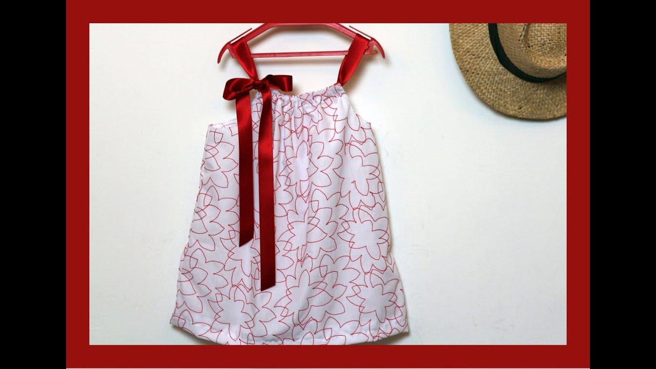 Cómo hacer un vestido para niña con una funda de almohada ...