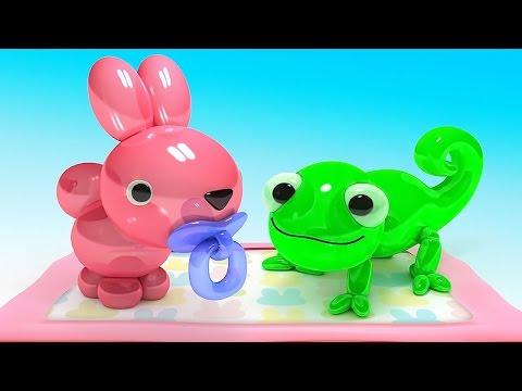 Мультики для малышей - Делаем животных из воздушных шариков. Изучаем цвета
