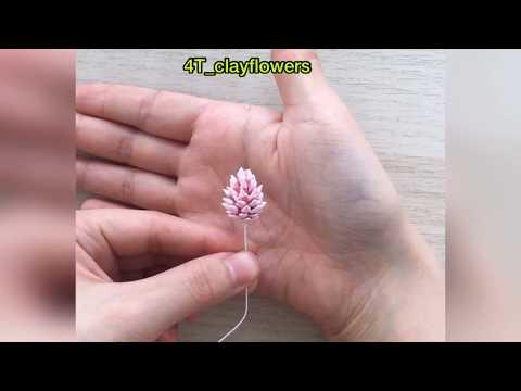 DIY. Clay flowers TUTORIAL [Air dry clay, cold porcelain, polymer clay][Hướng dẫn làm hoa đất sét]
