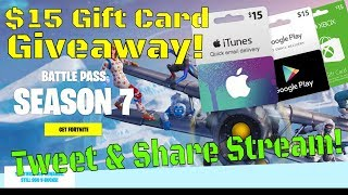 Fortnite / $15 Gift Card Giveaway / Race to 3,000 Subscribers! Tweet & Share For NBRS BUX!!
