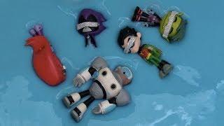 Teen Titans GO! Raven, Robin, Beast Boy, Starfire, Cyborg Jump Into Something Blue Blindfolded!!