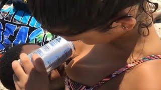 Beer Boob Drinking Challenge BOOBLUGE At Beach (Gets Caught)