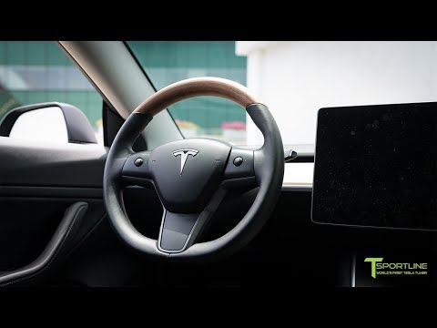 Tesla Model 3 Interior Upgraded with Leather Seats and Wood Steering Wheel