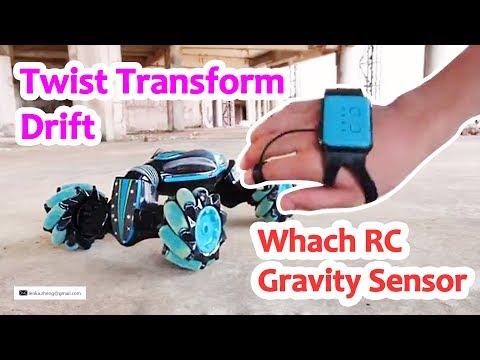 Watch RC Gravity Sensor Drift Car Twist Transform Double Side Run Stunt Spin