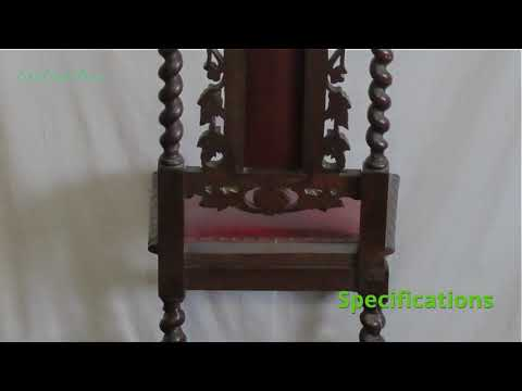 Antique carved oak and red leather upholstered dining chair