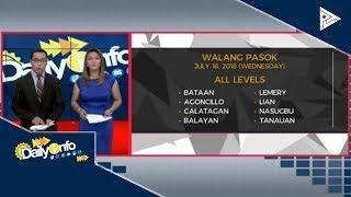 Mga lugar na #WalangPasok ngayong araw, July 18, 2018