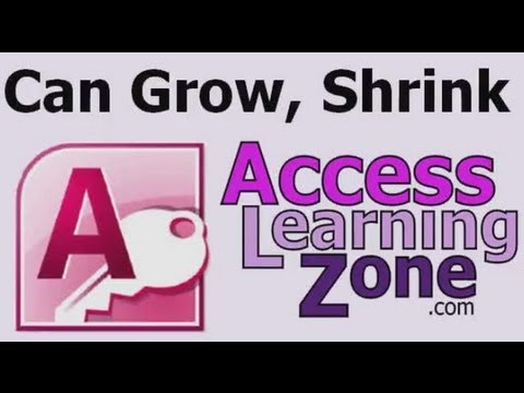 Microsoft Access Tutorial: Can Grow, Can Shrink Properties