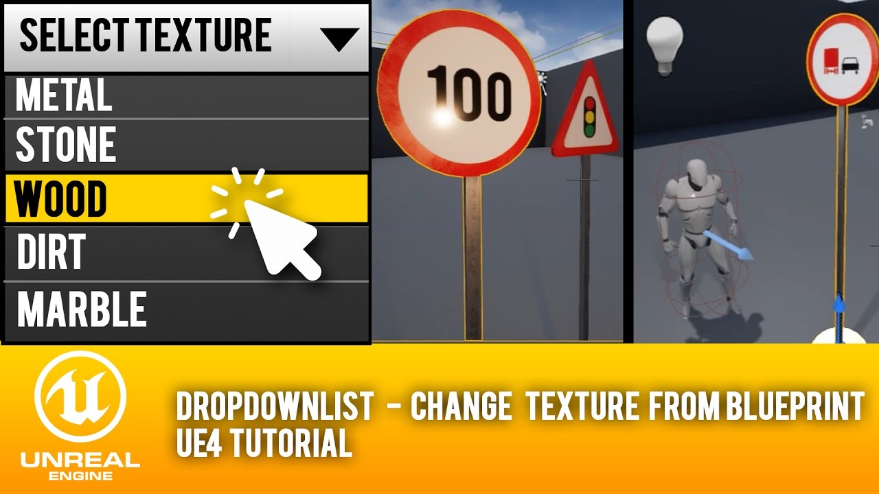 Change texture from blueprint ue4 tutorial dropdownlist youtube change texture from blueprint ue4 tutorial dropdownlist medel design malvernweather Images