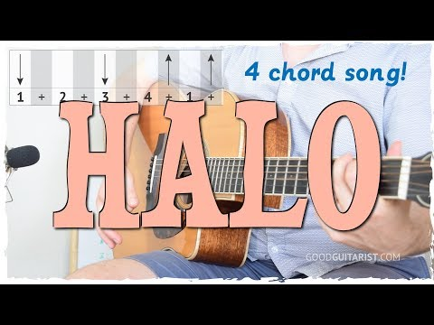 """Halo"" Easy Guitar Tutorial - 4 Chord Song + Strumming 