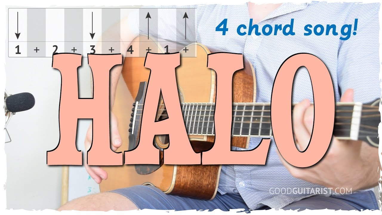 Halo Easy Guitar Tutorial 4 Chord Song Strumming Beyonce