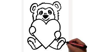 Como Dibujar Oso Corazon San Valentin