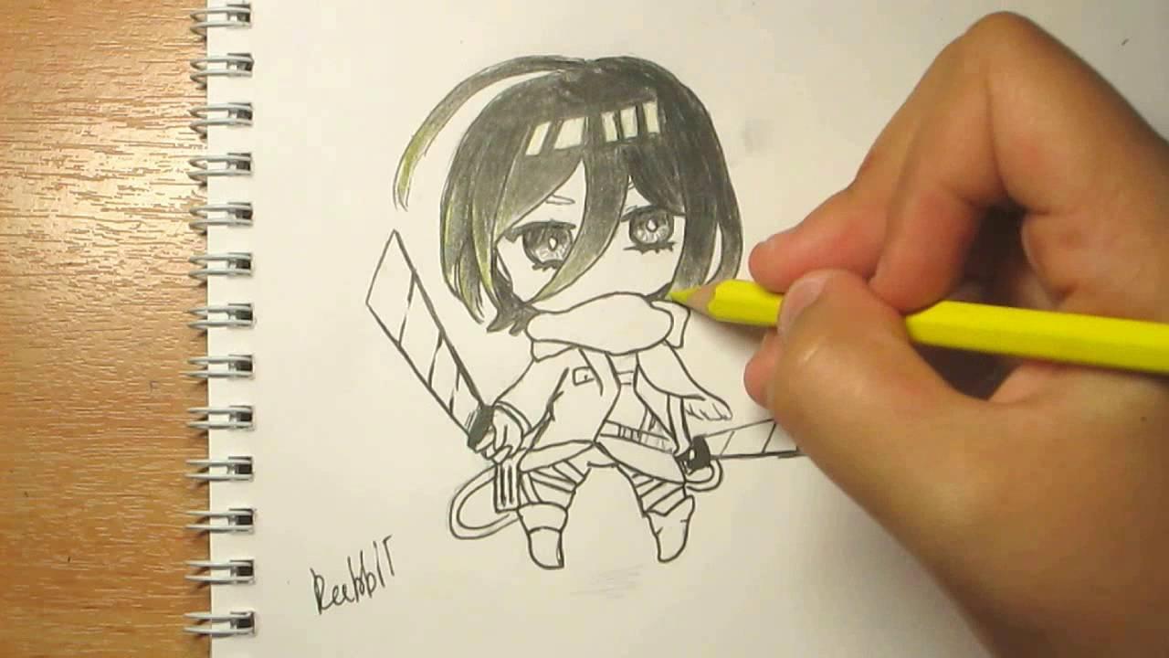 How To Draw Mikasa Ackerman Chibi From Attack No Titan