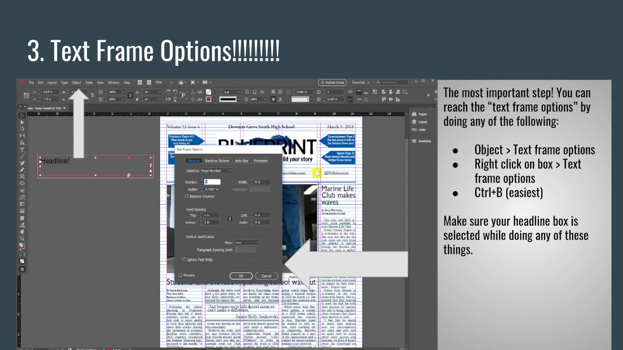 Placing text on images in InDesign
