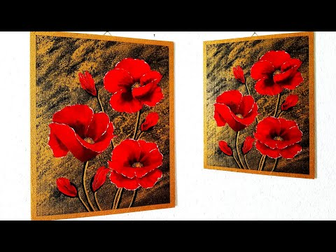 Blumen Malen Acryl Rot Gold für Anfänger - Flowers Acrylic Painting Red Gold easy for Beginners