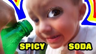 3 Year Old drinks Spicy Soda?  Chase Reacts to Sprite Soda!