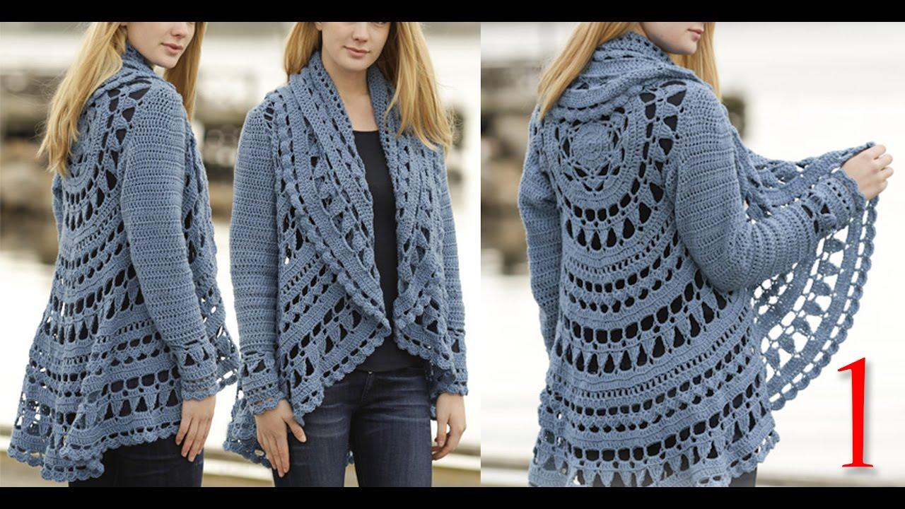 a26f7ca26 كروشيه كارديجان صيفي و شتوي ج1 Crochet cardigan for winter and summer part 1