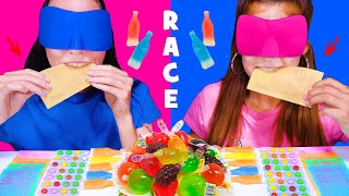 ASMR CANDY RACE WITH CLOSED EYES WITH MOST POPULAR SOUR AND SPICY FOOD