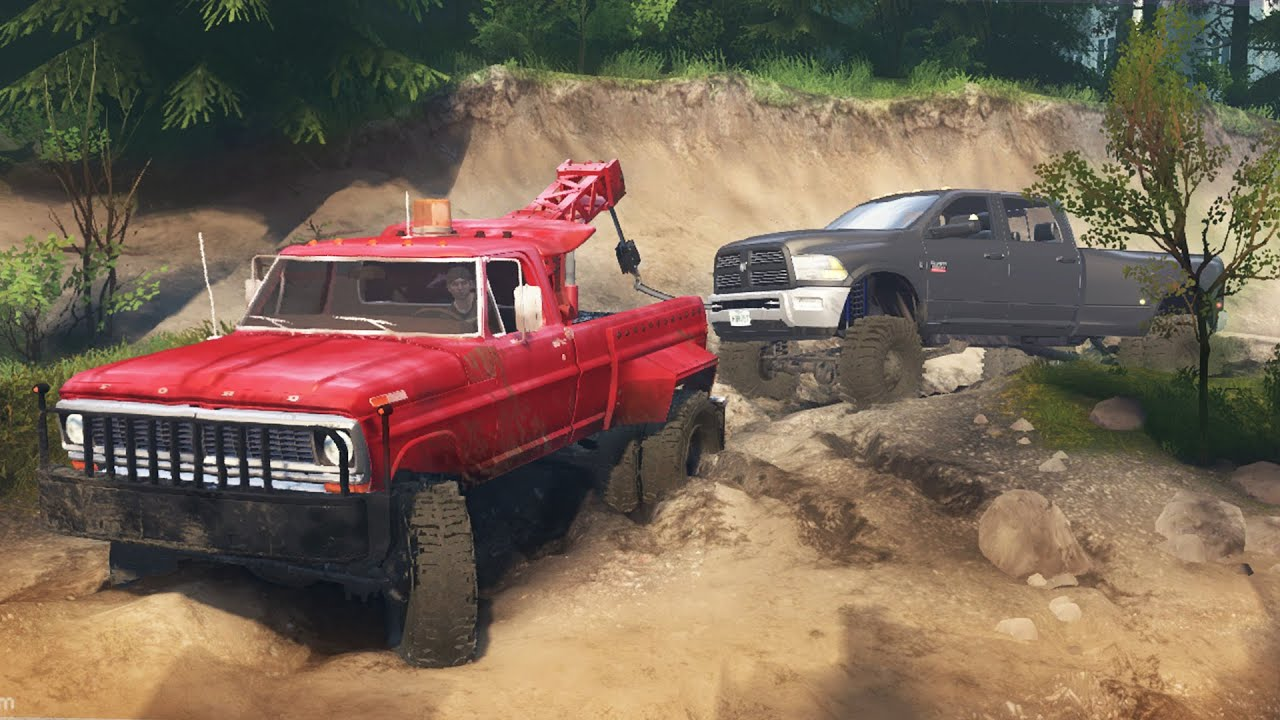 mudding rescue towing a dodge ram 5500 cummins dually spintires off road 4x4 gameplay youtube. Black Bedroom Furniture Sets. Home Design Ideas
