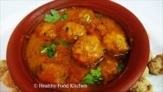 Soya Chunk Paruppu Urundai Kuzhambu Recipe - Soya Chunk Curry Recipe by Healthy Food Kitchen