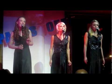 Ash Bee, Emma Hawthorne & Kirby Burgess singing DINNER & A  at Pants Off for BeyondBlue