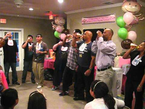 Chugging Beer From Baby Bottle Game At Vals Baby Shower Youtube