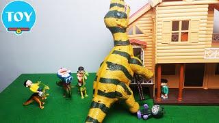 Đồ chơi Doremon - Nobita và Xuka cưỡi khủng long nổi giận gặp Ku Đen quậy phá