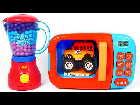 Toy Car Vehicles Monster School Bus Microwave Learn Colors for Kids Children and Toddlers
