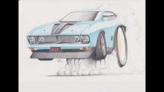 XB GT Falcon Coupe Burnout Drawing