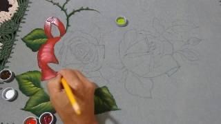 Pintura Rosas em tecido emborrachado Parte 1 de 3