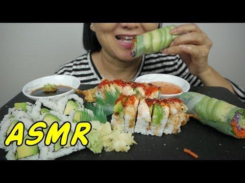 ASMR Sushi Rolls | Eating Sounds | Light Whispers | Nana Eats