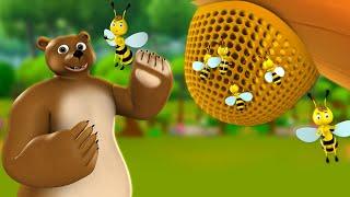 Bhalu aur Rani Madhumakhi 3D Hindi Moral Stories for Kids भालू और रानी मधुमक्खी कहानी Bear Bee Tales
