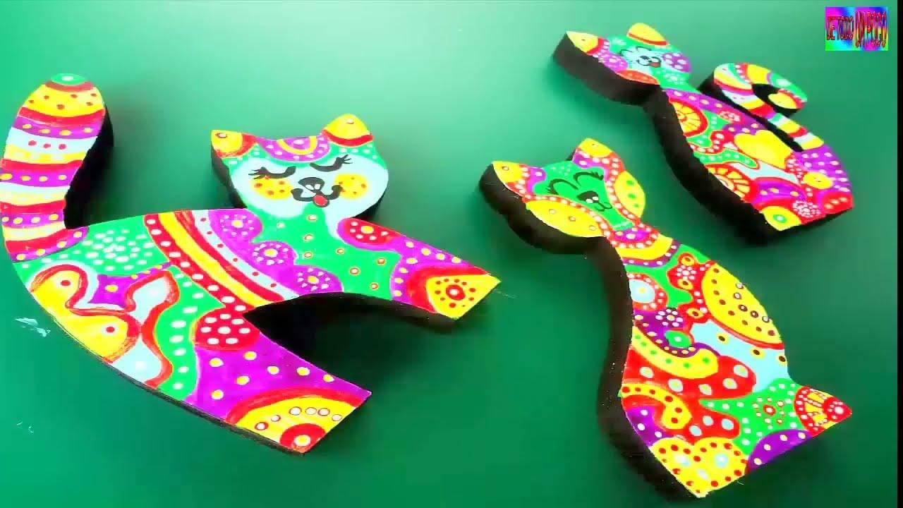 como pintar gatos decorativos en madera - DIY - YouTube