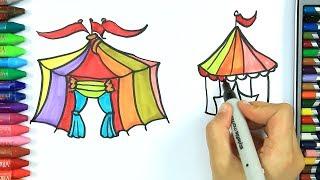 Cómo Dibujar y Colorear Circo, Maíz | Dibujos Para Niños