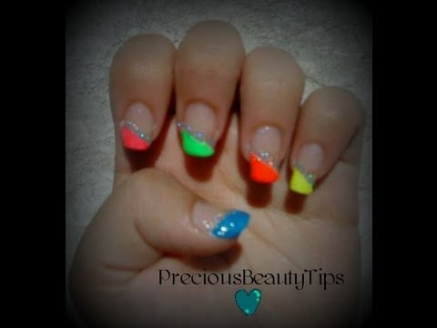 Rainbow French Tip Nails