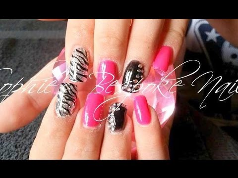 Acrylic Nails L Hot Pink Black Bling L Nail Design Youtube