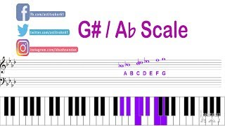 how to play g-sharp (g#) or a-flat (a) scale on keyboard  | lesson - 9