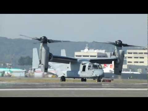 Two Bell Boeing V-22 Ospreys Landing and taxiing at Boeing Field Seattle