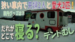 軽キャンの狭い車内で夫婦と愛犬2匹!いったいどこに寝てる?「テントむし」 thumbnail