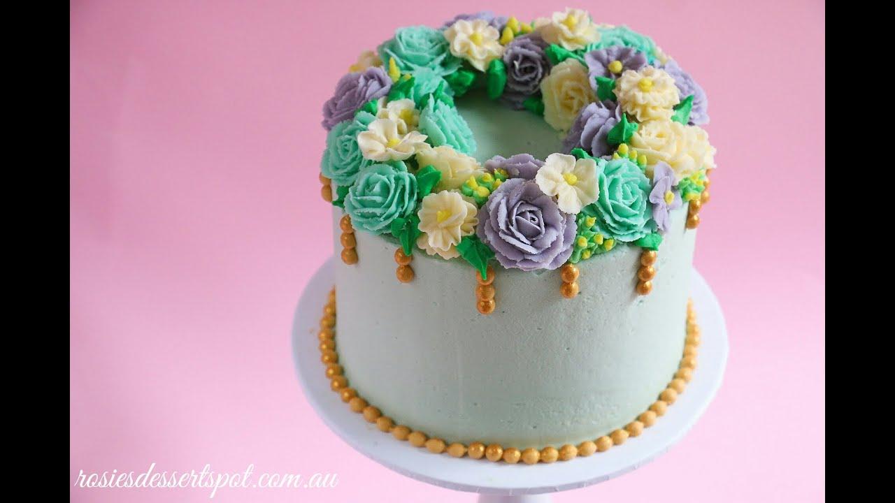 Floral Wreath Cake Tutorial- Rosie\'s Dessert Spot - YouTube
