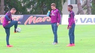Wayne Rooney & Raheem Sterling In Freestyle Challenge During England Training